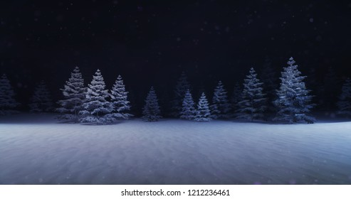 magic winter forest with illuminated trees front, winter nature 3D scene copy space background illustration rendering