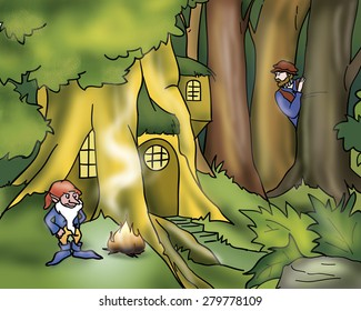 In a magic wood a medieval hero have found evil Rumpelstiltskin and his tree-house. Digital illustration for Grimm's fairy tale.