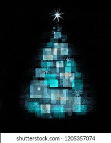 Magical abstract Christmas tree. Stylized  abstract  blue  Christmas tree on black background. Illustration imitated watercolor drawing.
