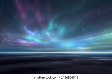 Magical aurora borealis on a starry night sky landscape