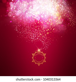 Magical and elegant background design with glitter effects on red background.
