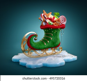 Magical elf skate full of christmas gifts and sweets. Unusual christmas illustration