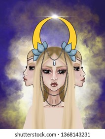 Magical elven girl with two girls on both sides. On his head a halo of blue flowers.