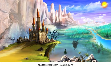 Magical Fairy Tale Castle Surrounded by Mountains above the River in a Summer Day. Digital Painting Background, Illustration in cartoon style character.