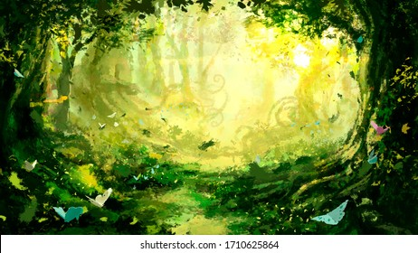 A magical fictional forest with many trees curling roots and butterflies, brightly lit by the rising morning sun. 2d illustration.