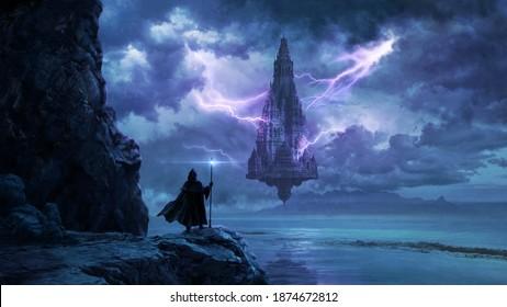Magical flowing castle - digital illustration