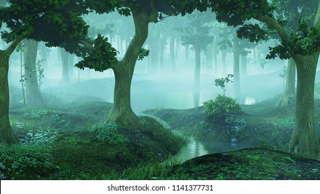 magical and foggy fantasy forest with ponds, 3d landscape rendering