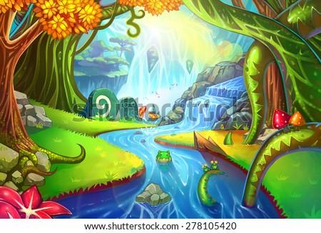 magical forest scene designのイラスト素材 278105420 shutterstock