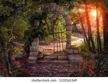 Magical gate doorway path in a enchanted fantasy forest. 3d render