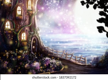 Magical Gnome's Tree House with Glowing Garden and Fairies Overlooking the Sea and Full Moon - Fantasy Fairy Tale Illustration