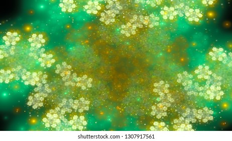 Magical green and yellow fractal, computer generated abstract background, 3D rendering