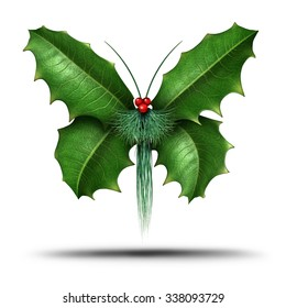 Magical holiday or Christmas celebration decoration element as a winter flying butterfly made of holly evergreen pine needles and red berries as a festive freedom symbol of seasonal hope and joy.
