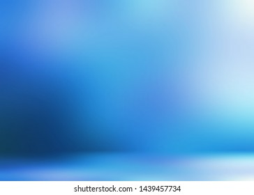Magical icy blue room 3d background.