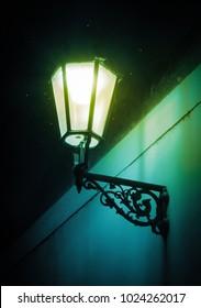Magical lantern with fireflies