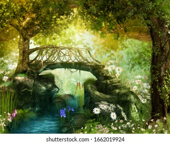 Magical lush fairy tale forest with an enchanting bridge over a brook, 3d render.