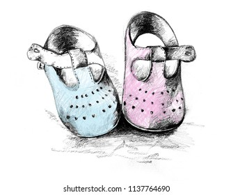 Magical moments: Cute pair of baby shoes, pink and blue, to the Gender Reveal Party. Pencil illustration with digital color.