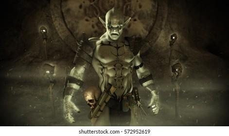 Magical Orc warlock character