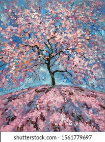 Magical Pink flower tree. Oil painting of blooming spring tree. Hand Painted Floral Greeting Card Illustration. Romantic Oil picture