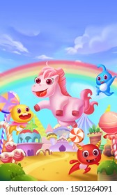 Magical Rainbow Land. Children Imaginary Natural Backdrop. Concept Art. Realistic Illustration. Video Game Digital CG Artwork. Fairytale Scenery.