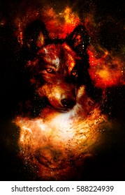 magical space wolf, multicolor computer graphic collage. Space fire