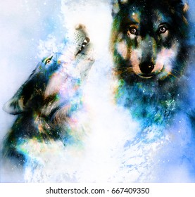 magical space wolf painting graphic 260nw 667409350