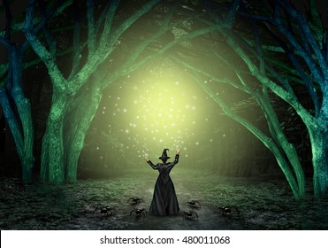 Magical witch casting a magic spell in a scary dark mystery forest as a wicked sorcerer creating a glittering green glow as a halloween background with text space with 3D illustration elements.