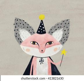 magician fox with magic wand - watercolor illustration