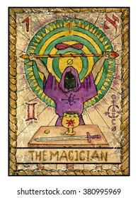 The magician. Full colorful deck, major arcana. The old tarot card, vintage hand drawn engraved illustration with mystic symbols. Man wearing mantle and holding magic wand. Sword, cup and coin