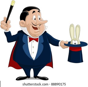 The magician pulls out a rabbit from a hat, raster
