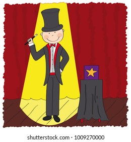 Magician / wizard standing in the theatre stage next to the magic box and holding magic wand - original hand drawn illustration