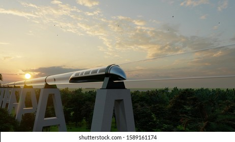 Maglev Monorail hyperloop on cloudy background. 3d illustration. Future technology illustration. Virtual travel. 3d render