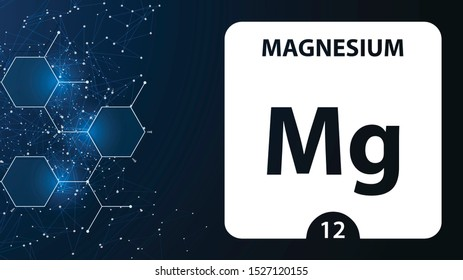 Magnesium 12 element. Alkaline earth metals. Chemical Element of Mendeleev Periodic Table. Magnesium in square cube creative concept. Chemical, laboratory and science background for university