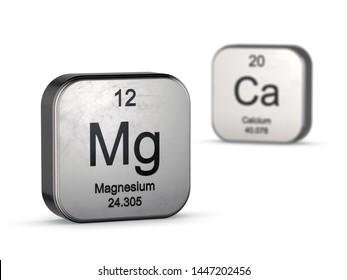 Magnesium and Calcium symbols from the periodic table - focus on magnesium. 3D render with depth of field blur