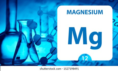 Magnesium Mg, chemical element sign. 3D rendering isolated on white background. Magnesium chemical 12 element for science experiments in classroom science camp laboratory. laboratory, science concept