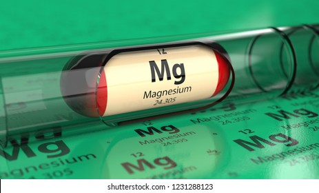 Magnesium Mg element in the capsule. Mineral as a dietary supplement 3D illustration.