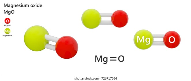 Magnesium oxide (formula: MgO). An inorganic compound that occurs in nature as the mineral periclase. 3d illustration. The molecule is represented in different structures.
