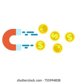 Magnet attracting euro coins and dollar coins isolated on white. Successful business like lodestone dragging lot of money.  business illustration with golden coins and magnet in cartoon style.