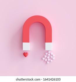 Magnet with Heart shape on pink background, minimal Valentine Idea concept. 3D Render