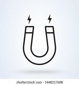 magnet and magnetism line art. Simple modern icon design illustration.