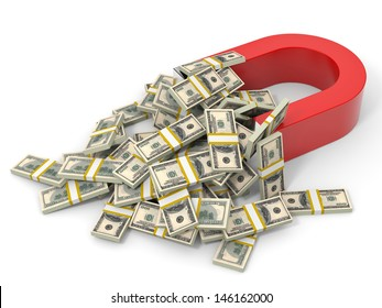 Magnet on white background attracts money dollars. 3D illustration.