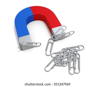 Magnet with paper clips isolated on white background. 3d rendering.