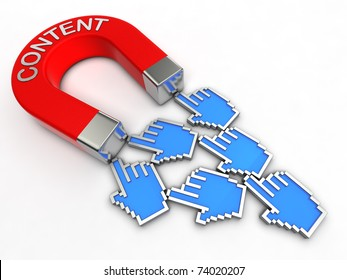 Magnet with title CONTENT attracts people.