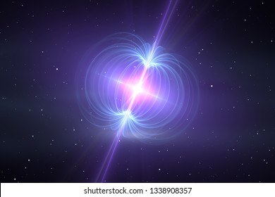 Magnetar - neutron star with an extremely powerful magnetic field. 3d rendering