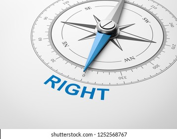 Magnetic Compass with Needle Pointing Blue Right Word on White Background 3D Illustration
