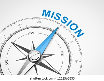 Magnetic Compass with Needle Pointing Blue Mission Word on White Background 3D Illustration