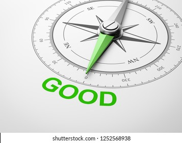Magnetic Compass with Needle Pointing Green Good Word on White Background 3D Illustration