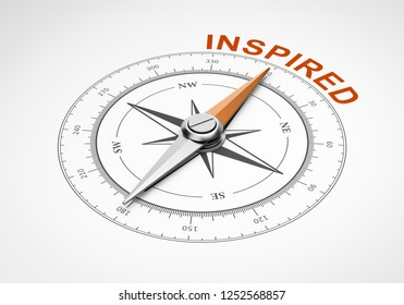 Magnetic Compass with Needle Pointing Orange Inspired Word on White Background 3D Illustration