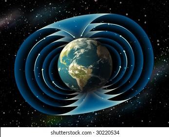 Magnetic field surrounding planet earth. Digital illustration.