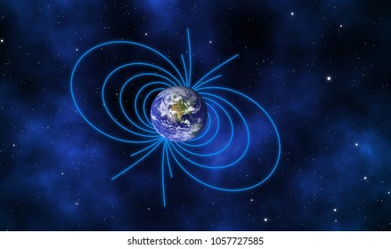 Magnetic lines of the Earth surrounded our world north and south poles with galaxy background. Element of this image furnished by NASA.