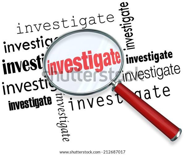 Ilustración de stock sobre Magnfiying Glass On Word Investigate ...
